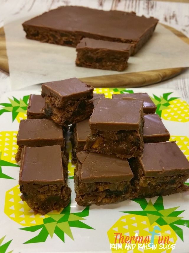 If you LOVE Cadbury Rum & Raisin Chocolate than this slice is for you! If you just love rum, raisins and chocolate then this slice is a must!