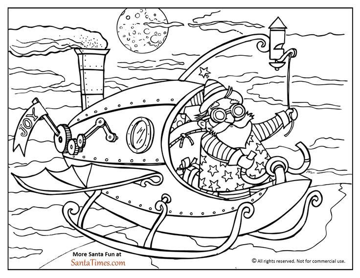 Steampunk Santa Coloring Page. More Xmas fun at www.SantaTimes.com