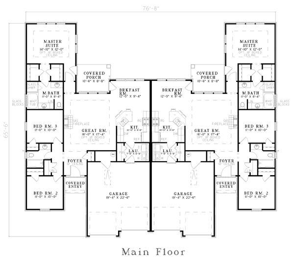 images about Duplex house plans on Pinterest   Duplex Plans    Duplex Plan chp  at COOLhouseplans com