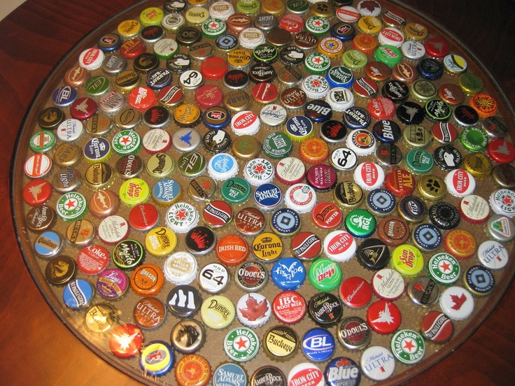 Im actually saving beer caps to make a table top for the for What can you make with bottle caps
