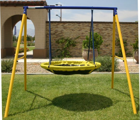 yellow and blue metal jump ufo swing sets as well as outdoor swing sets for toddlers plus kids outdoor play equipment 580x497