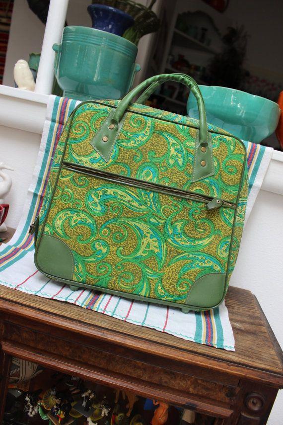 Green Paisley small Luggage Japan WP. Hemenway Portland Oregon Overnight Bag Purse