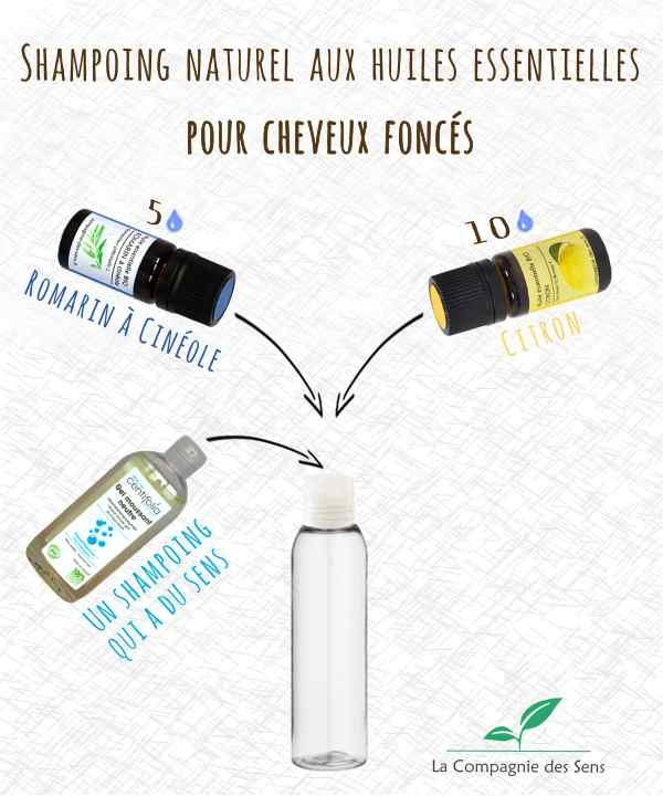 Shampoing aux huiles essentielles pour apporter de jolis reflets aux cheveux foncés