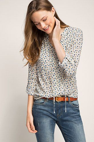 Esprit / all-over print blouse with ties