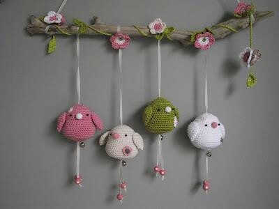 Movil crochet pajaritos