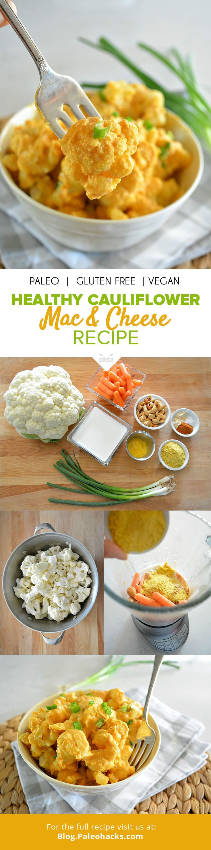 Cauliflower florets are smothered in a creamy, dairy-free cheese sauce that instantly evokes memories of this childhood classic with a healthy makeover. For the full recipe, visit us here: http://paleo.co/caulimacncheese