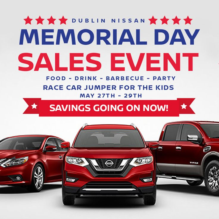 Come Celebrate our Memorial Day Sales Event at Dublin Nissan! We will have BBQ, A Race Car Jumper for your kids to play in and Great Sales Happening at Dublin Nissan!  BBQ and Kids Jumper May 27th - 29th Savings Going On Now!  Browse our offers at http://dublinnissanoffers.com, stop by Dublin Nissan at 6450 Dublin CT Dublin, CA 94568 or call us at (877)796-5565  #memorialday #memorialdaysale #new #nissan #lease #purchase #offer #dublinnissan #newnissanrogue #newnissan