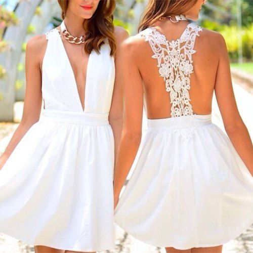 Sweet Plunging Neck Lace Splicing Backless White Dress For Women