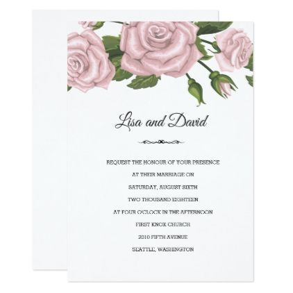Wedding Invitation-Pink Roses Card - marriage invitations wedding party cards invitation
