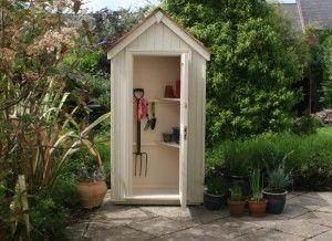 The Handmade Garden Storage Company, Devon. Sentry Box Tool Store finished in Vellum Tikkurila paint.