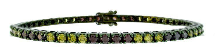 tennis verde militare con zirconi neri, verdi e marroni
