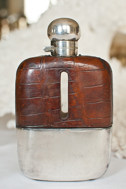 Antique Crocodile Skin Hip Flask