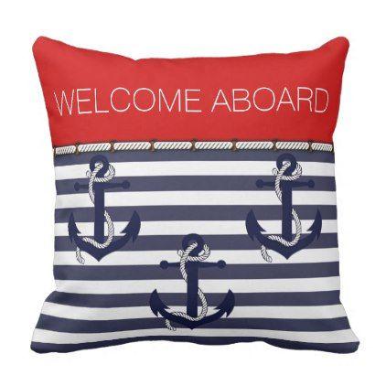 Custom Fun Welcome Aboard Nautical Anchor Pattern Throw Pillow - elegant gifts gift ideas custom presents