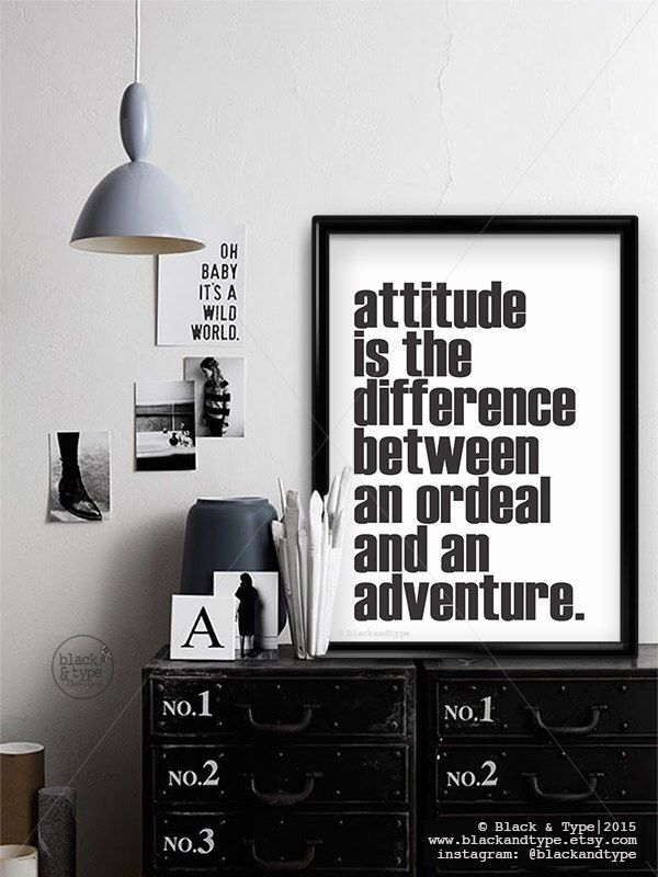 Attitude Is The Difference || typography print, motivational wall decor, black and white art, attitude quote, weight loss, adventure quote by BlackandType on Etsy (null)
