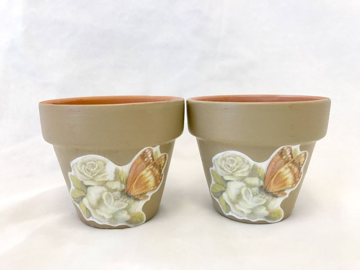 2 Hand painted decoupage terra cotta planter pots, succulents, air plants, garden gifts, hostess gifts by PassionforSucculents on Etsy https://www.etsy.com/ca/listing/567564687/2-hand-painted-decoupage-terra-cotta