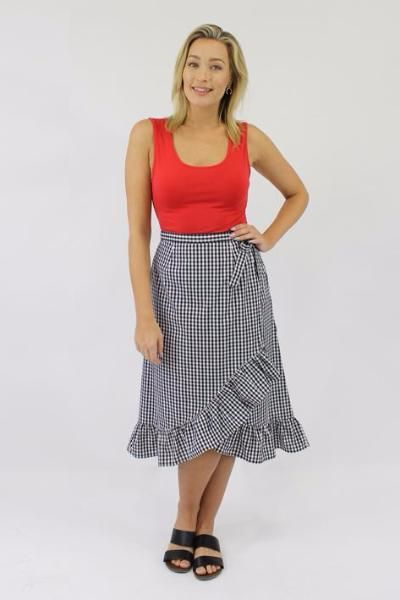 Jendi - 10-391 Gingham Wrap Skirt