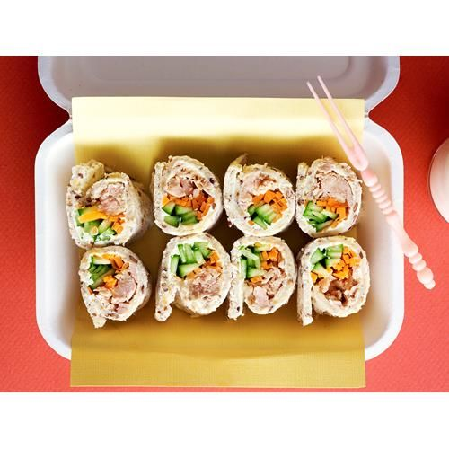 Tuna sushi sandwiches recipe - By Australian Women's Weekly, These delicious tuna sushi style sandwiches are perfect for a kids' lunchbox or light snack with drinks.