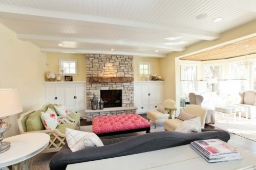 Fireplace!Cottages Style, Stones Fireplaces, Fireplaces Design, Built In, Living Room Design, Livingroom, Fireplaces Surroundings, Traditional Living Rooms, Families Room