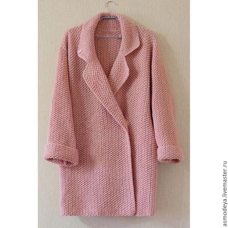 Купить Пальто вязаное розовое - бледно-розовый, пальто, пальто женское, пальто вязаное, пудровый