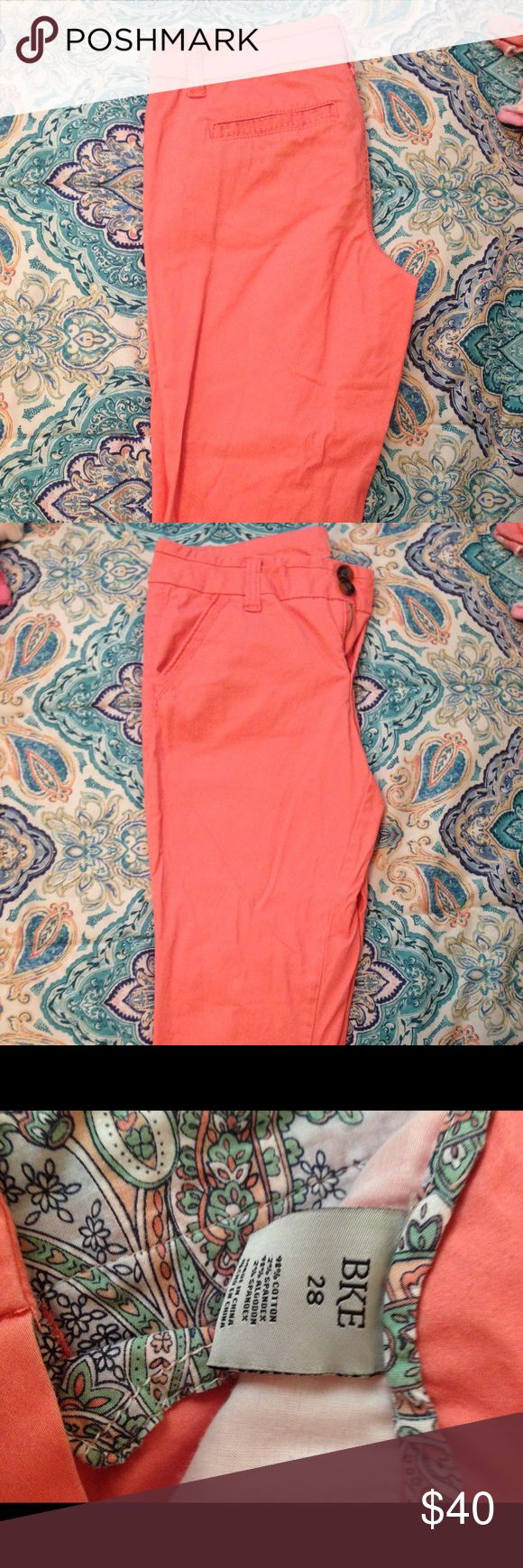 BKE Coral Capris BRAND NEW NWOT, never worn, never washed, only can't return cuz I lost the receipt. SUPER CUTE, just got the wrong size. BKE Pants Capris