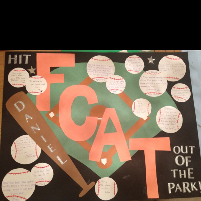 It is a FCAT encouragement poster. Each baseball has a note from someone encouraging him to do well.