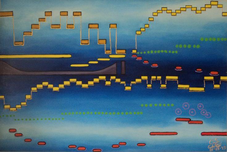 Secuencia musical Técnica: Óleo y vinilo sobre lienzo Dimensiones: 1,20 m. x 0.80 m.