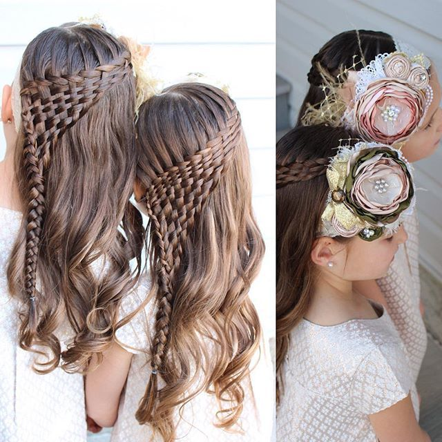 """The girls' hair for church today. Waterfall twist and then I wove the strands underneath and pulled them into a braid on the side.  And we wore these gorgeous headbands from @linsofandi They are still one of our favourites!"" Photo taken by @sheerbraidedbliss on Instagram, pinned via the InstaPin iOS App! http://www.instapinapp.com (11/15/2015)"