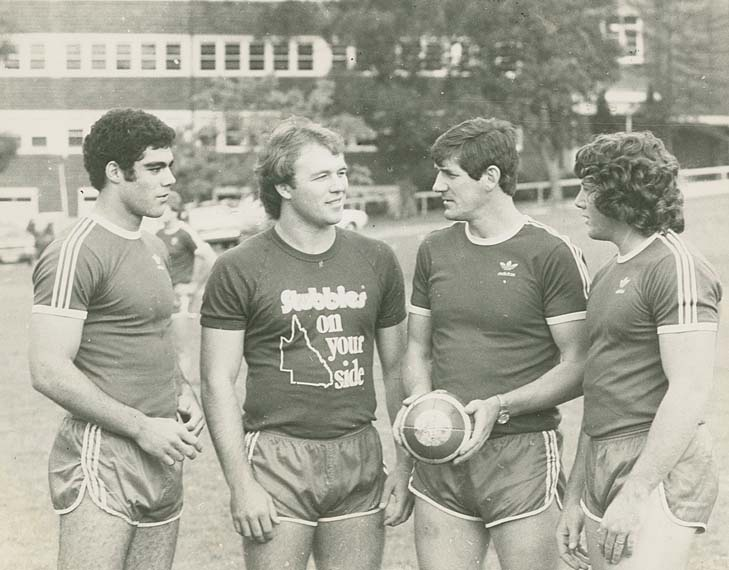 We just dug this photo out of the Fairfax archives: Mal Meninga and Wally Lewis ahead of the very first State of Origin game in 1980