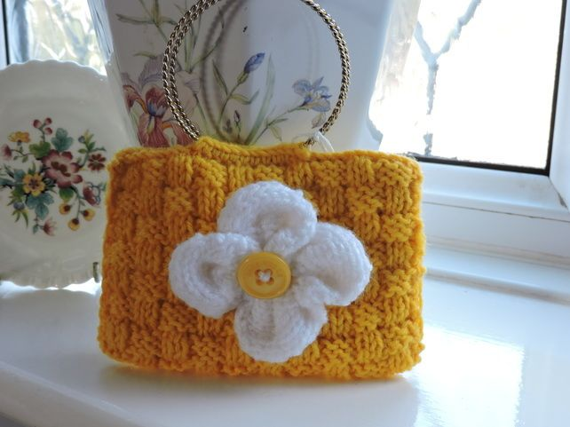 Knitted Yellow Mini Bracelet Bag Mobile Phone Case £4.50