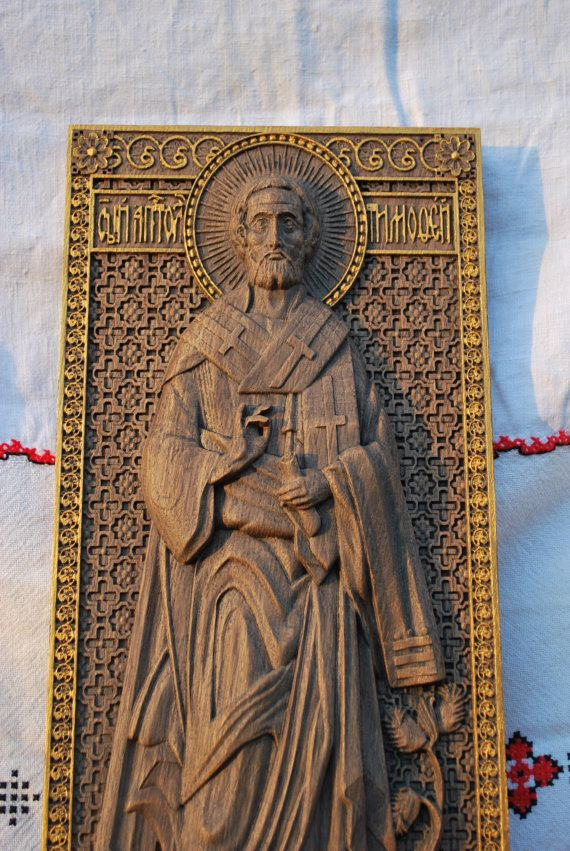 Saint Timothy Wooden carved religious wall art Icon by Woodenicons