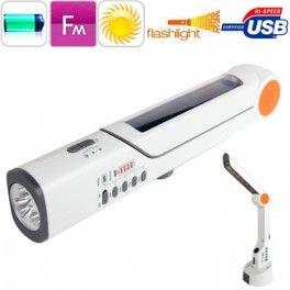 Фонарик Uniqueen 8Ω универсальный Уникальный многофункциональный фонарь. Имеет солнечную батарею, динамо для ручной зарядки, встроенное FM радио, универсальное зарядное устройство для мобильных телефонов и планшетов, настольная лампа для чтения! Идеальный походных гаджет для путешествий и кемпинга.
