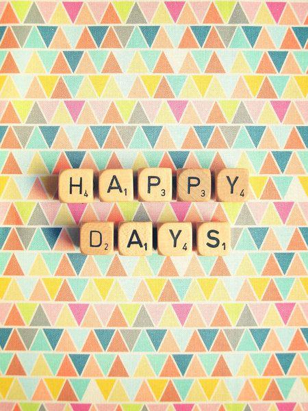 Happy Days. Fine Art Photography. Home Décor. Pastel. Scrabble Blocks. Geometric. Triangles. Size 5x7