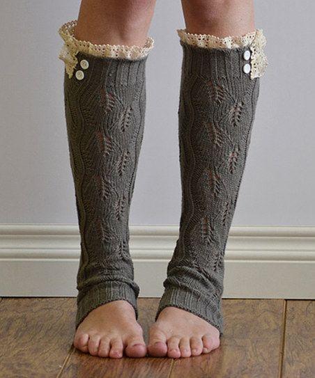Gray & Ivory Leaf Ruffle Leg Warmers