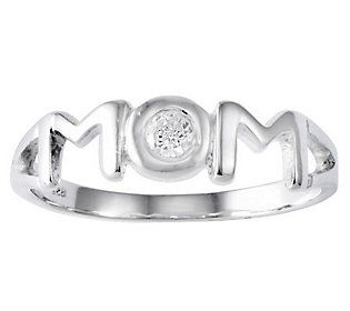 Sterling Polished Simulated Diamond Mom Ring