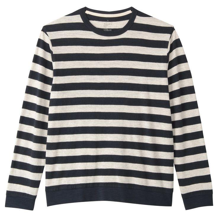 オーガニックコットンムラ糸ボーダー長袖Tシャツ 紳士XL・オートミール 無印良品 この生地感たまらなく良い。 http://www.muji.net/store/cmdty/detail/4549738283126