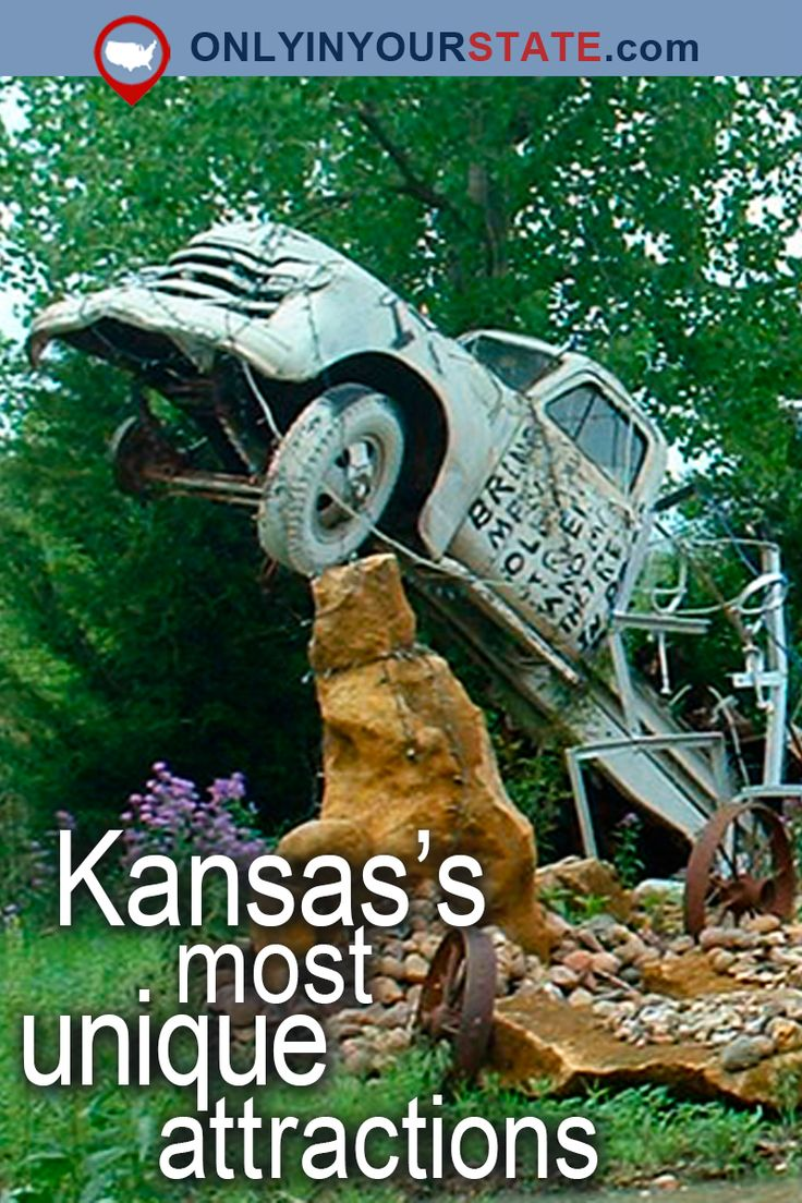 Travel   Kansas   USA   Attractions   Places To Visit   Day Trips   Things To Do   Bucket List   Unique Places   Road Trips   Staycation   Explore   Adventure   Beautiful Places   Gardens   Natural Wonders   Garden of Eden   Largest Ball of Twine   Land of Oz   Wizard of Oz   Castles   Rock City   Truckhenge