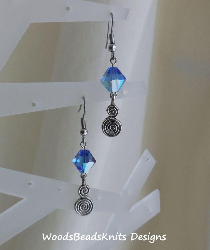 Swarovski Crystal Earrings, Blue Earrings, Stainless Steel Hypoallergenic Hooks, Boho, Bohemian, Lightweight, Mother Day Gift