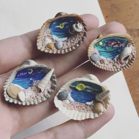 Some more shell beach landscapes that I will be turning into necklaces and selling at @thefounderycoffeepub tomorrow at Paws for a Cause benefiting @oneloverescue ! Come out if you can! From 12-5pm! #tybeeshells #tybeeshellart #pawsforacause #shellnecklaces #polymerclayartist #savannahartist #savannahart #seashells #seashellart #tinyart