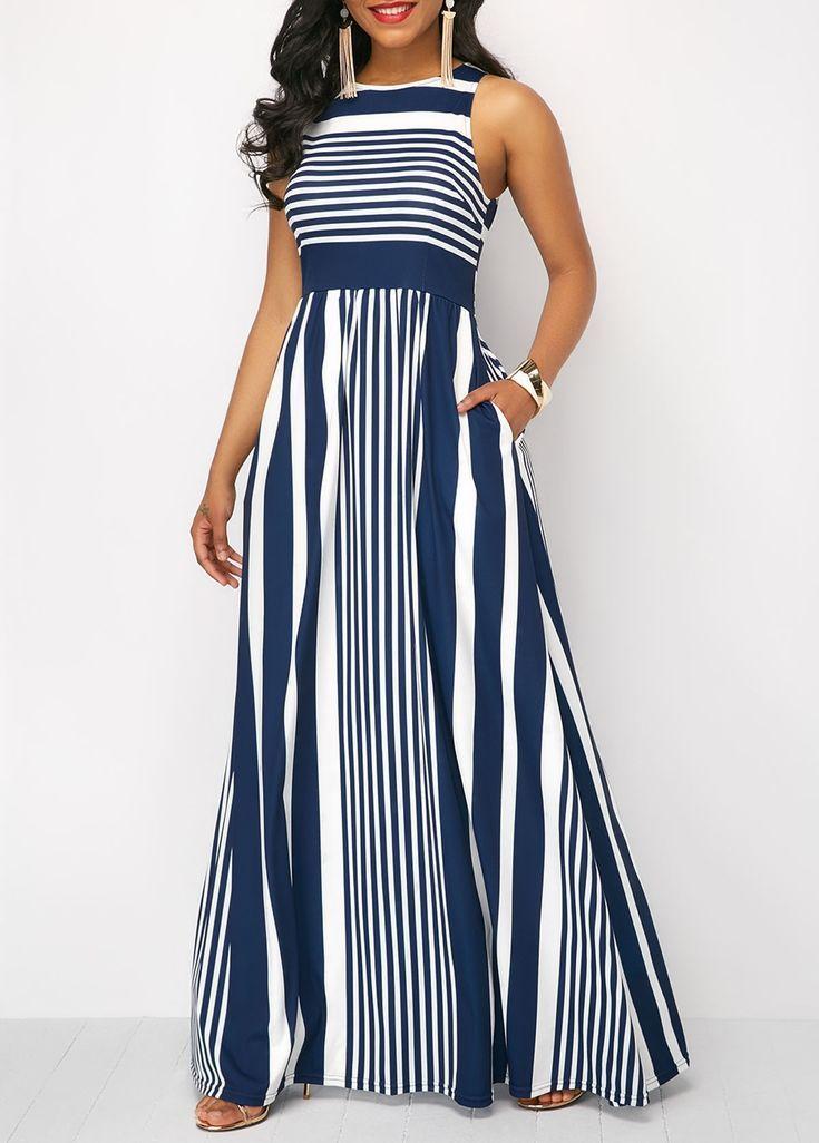 bc22f04922fc High Waist Sleeveless Stripe Print Maxi Dress