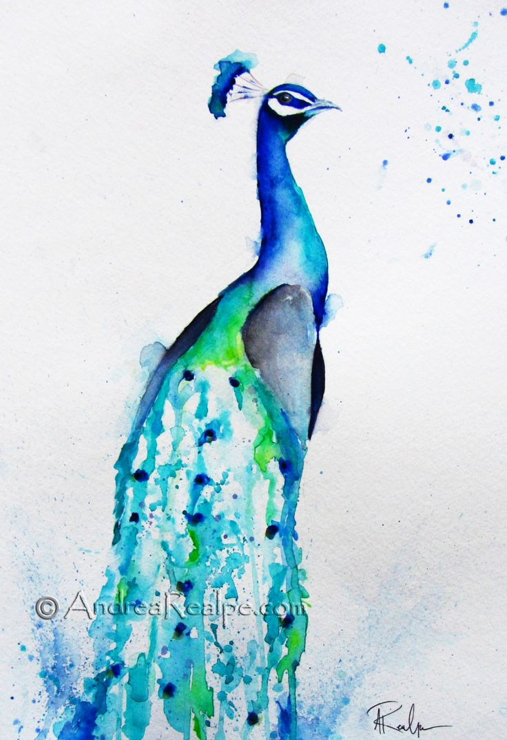 abstract watercolor peacock - Google Search