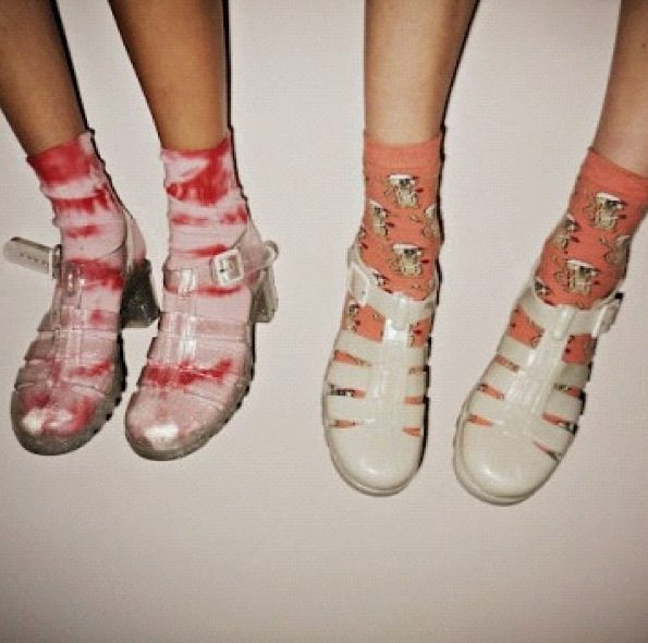 Socks in jellies shoes