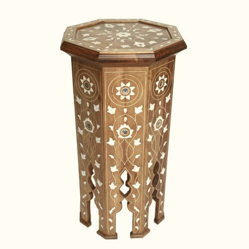 Tall Syrian Accent Table Natural SHEHERAZADEHOME.COM