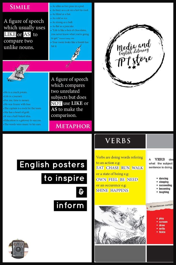 Fantastic classroom posters for visually highlighting and supporting the teaching of NOUNS and VERBS. https://www.teacherspayteachers.com/Product/SIMILE-METAPHOR-POSTER-2867242