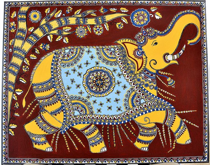 Indian Folk Fusion : Kalamkari and Madhubani Painting Title : Majestic