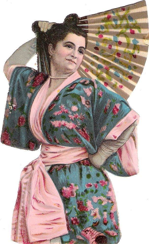 Oblaten Glanzbild scrap die cut chromo Dame 13cm chinese lady Fächer fan femme