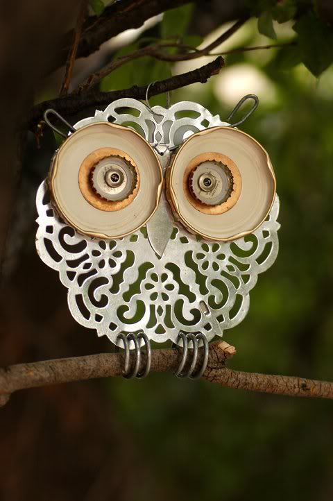 recycled garden junk art owl- I have some of these parts