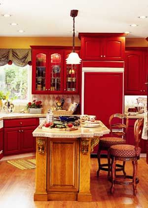 Yellow Walls And Red Cabinets Red Cabnets Doors