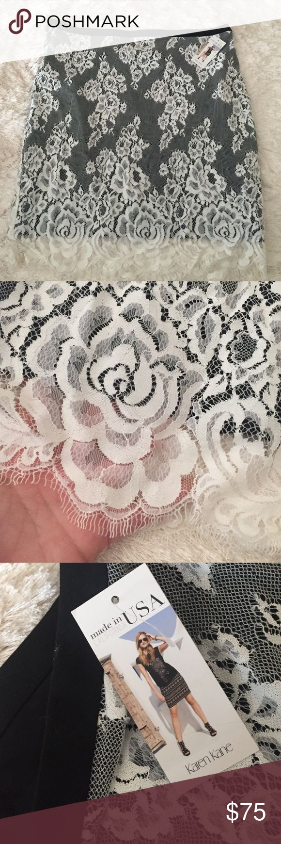 Karen Kane skirt black and white lace Never worn karen Kane skirt size xl black and white lace Karen Kane Skirts