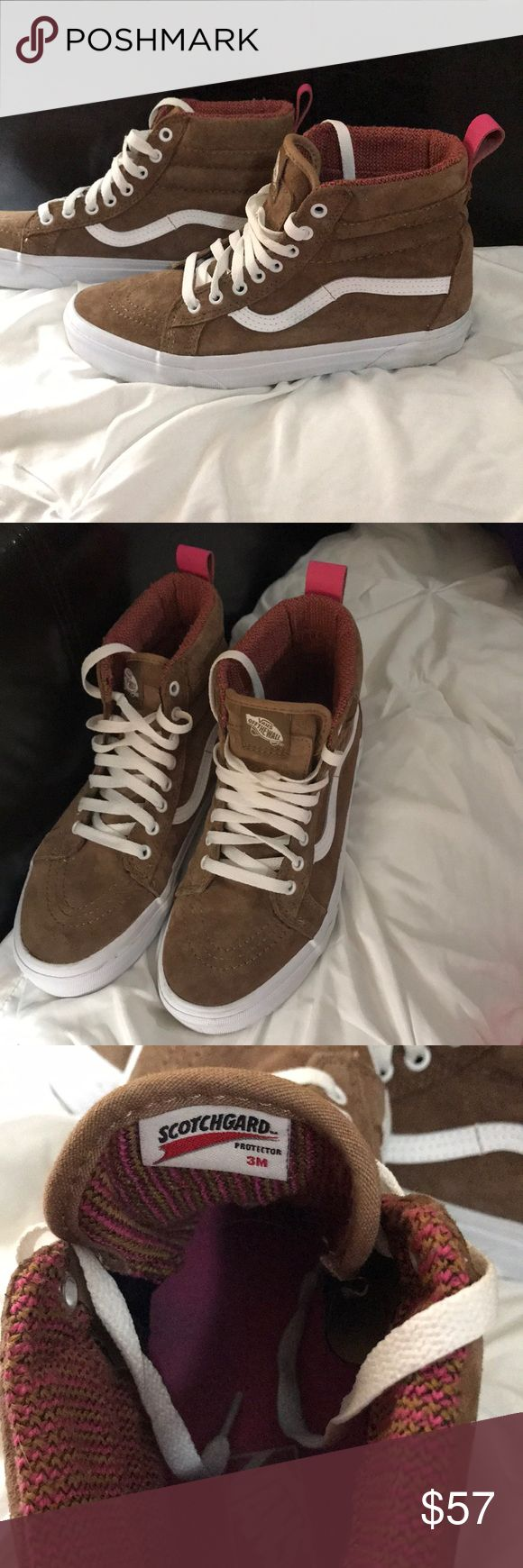VANS women's brown suede w/ scotchgard Brown suede with pink loops on back. Only worn once. Super warm and has scotchgard protection. Size 9.5 women's and 8 in men's. Vans Shoes Athletic Shoes