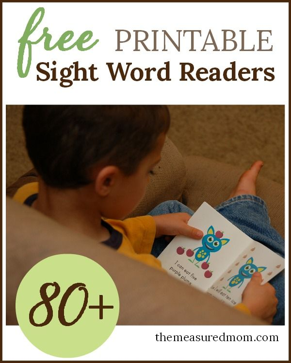 80+ Free printable sight word readers from the Measured Mom!